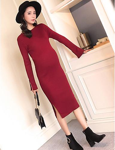 Damen Hülle Strickware Kleid-Lässig/Alltäglich Solide Rundhalsausschnitt Midi Langarm Acryl Mittlere Hüfthöhe Mikro-elastisch Mittel Dick