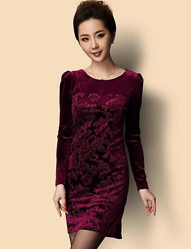 Damen Bodycon Kleid-Ausgehen Solide Rundhalsausschnitt Übers Knie Langarm Baumwolle Herbst Mittlere Hüfthöhe Mikro-elastisch Mittel
