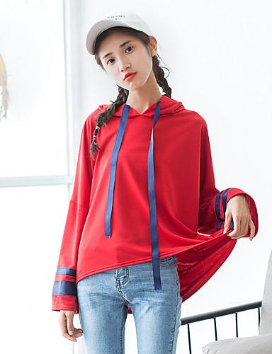 Damen Kapuzenshirt Lässig/Alltäglich Einfarbig Baumwolle