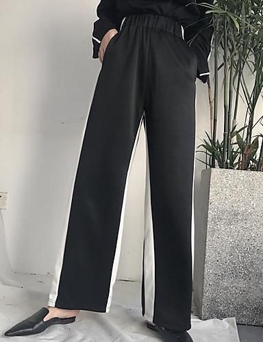 Damen Freizeit Mikro-elastisch Breites Bein Hose Gestreift