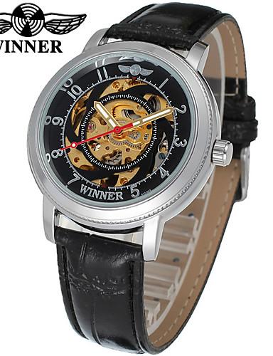 WINNER Damskie Zegarek na nadgarstek zegarek mechaniczny Nakręcanie automatyczne Czarny 30 m Wgłębione grawery Analog Casual Elegancja - Biały Czarny