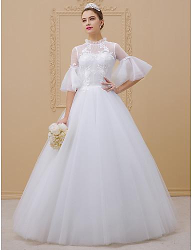 Balowa Wysoki Sięgająca podłoża Koronkowa tiulowa Koronkowe koronki Niestandardowe suknie ślubne z Haft nakładany Koronka przez LAN TING
