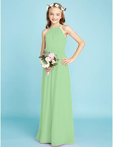 billige Bryllupsfestkjoler-A-linje Grime Gulvlang Chiffon Junior brudepikekjole med Belte / bånd av LAN TING BRIDE® / Naturlig