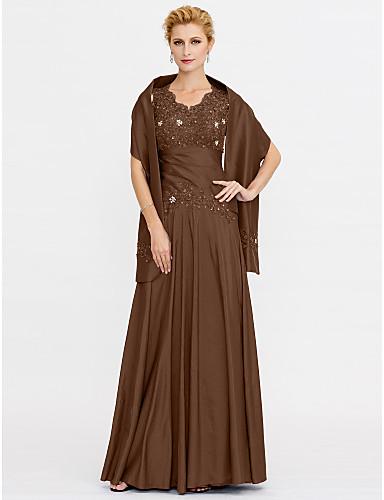 A-vonalú Szíj Földig érő Sifon / Gyöngyös csipke Örömanya ruha val vel Gyöngydíszítés / Csipke által LAN TING BRIDE® / Stólával