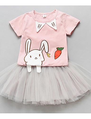 Sukienka Bawełna Dziewczyny Codzienne Wzór zwierzęcy Lato Krótki rękaw Kreskówka Blushing Pink