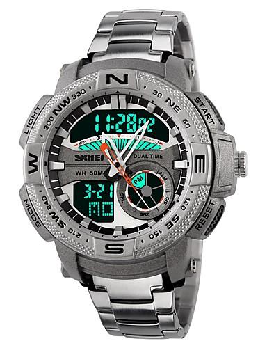 4cd49cadea9 ... Homens Relógio Esportivo Relogio digital Japanês Digital Aço Inoxidável  Silicone Preta   Branco 50 m Impermeável Calendário Cronógrafo Analógico- Digital ...