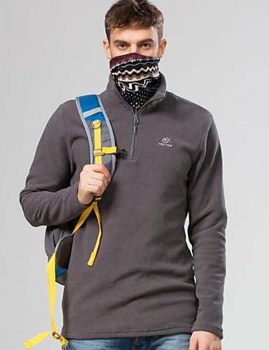 cheap Outdoor Clothing-Men's Hiking Fleece Jacket Outdoor Autumn / Fall Winter Warm Thick Top Single Slider Camping / Hiking Fishing Hiking Dark Grey / Royal Blue / Dark Green Hiking Fleece Camping & Hiking Apparel