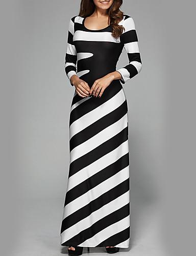 女性用 ストリートファッション スリム パンツ - ストライプ ブラック&ホワイト ハイウエスト ブラック / パーティー / マキシ / 祝日