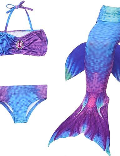 ieftine Cosplay & Costume-The Little Mermaid Mermaid Coada Aqua Princess Fustă Costume de Baie Bikini Pentru copii Fete Slip rochie sirenă și trompetă Bikini Paiete Crăciun Halloween Mascaradă Festival / Sărbătoare Chinlon