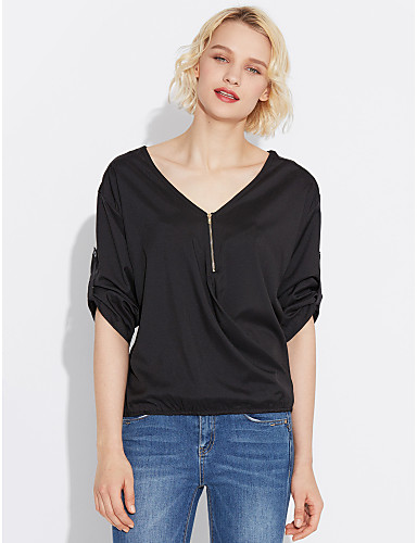 Damen Solide Hemd, V-Ausschnitt Patchwork Nylon