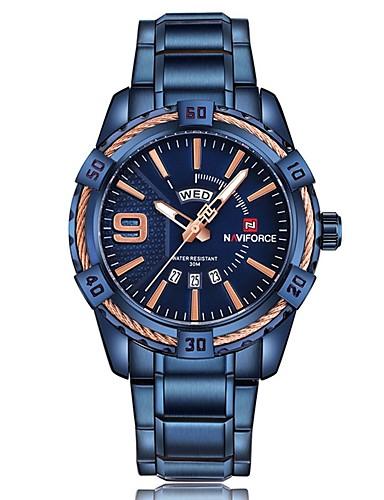 388715362ba Homens Relógio de Pulso Suíço Aço Inoxidável Preta   Azul   Prata  Impermeável Calendário Cronógrafo Analógico
