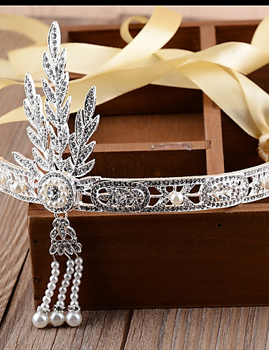 cheap Historical & Vintage Costumes-The Great Gatsby Flapper Headband 1920s / Lace Up / Roaring 20s Women's Black / Silver / Golden Imitation Pearl / Chrome / Rhinestones Party Prom Cosplay Accessories Masquerade Costumes