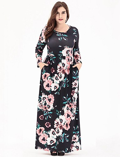 effcea454fe Women s Floral Plus Size Casual   Daily Boho Maxi Swing Dress - Floral  Print High Waist Summer White Black Navy Blue XXXXL XXXXXL XXXXXXL  06432619