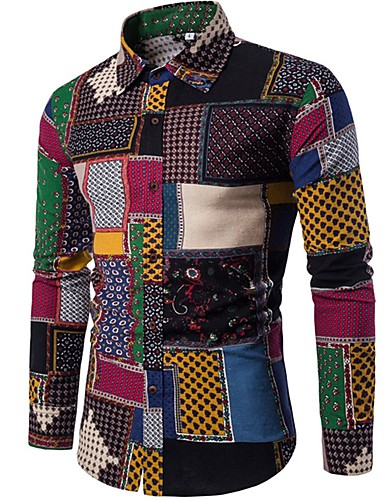 cheap Up to 90% off-Men's Vintage / Boho Cotton Slim Shirt - Plaid Spread Collar / Long Sleeve / Spring / Fall