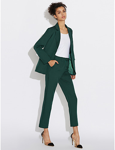 Women's Work Casual Spring Shirt Pant Suits,Solid Peter Pan Collar Long Sleeve Polyester