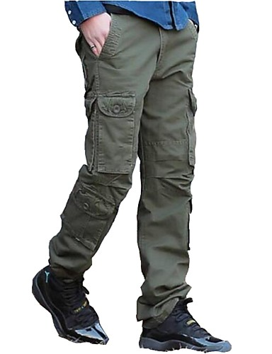 cheap Outdoor Clothing-Men's Camo Hiking Pants Hiking Cargo Pants Outdoor Trainer Walking Spring, Fall, Winter, Summer Cotton Pants / Trousers Hunting Fishing Hiking Forest Green Camouflage Khaki L XL XXL / Solid Color