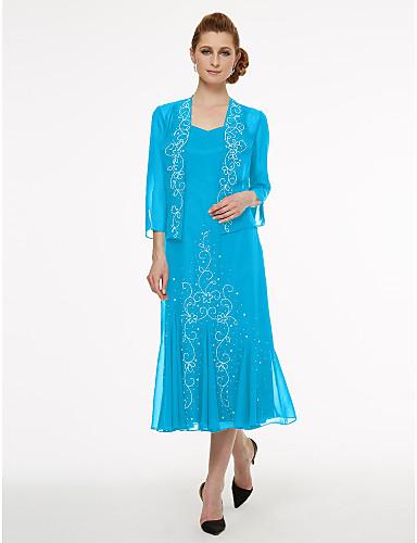 voordelige Wrap Dresses-A-lijn hihnat Over de knie Chiffon Bruidsmoederjurken met Kralen / Plooien door LAN TING BRIDE®