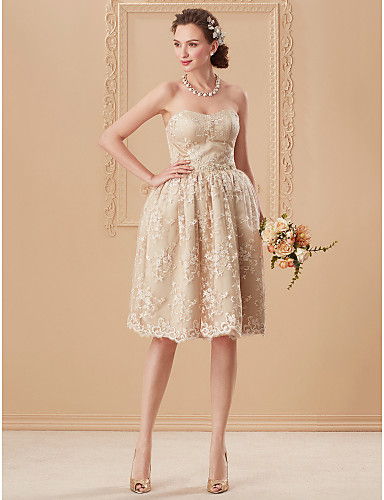 916c8a3462b6 Βραδινή τουαλέτα Στράπλες Μέχρι το γόνατο Δαντέλα   Οργάντζα Φορέματα γάμου  φτιαγμένα στο μέτρο με Διακοσμητικά