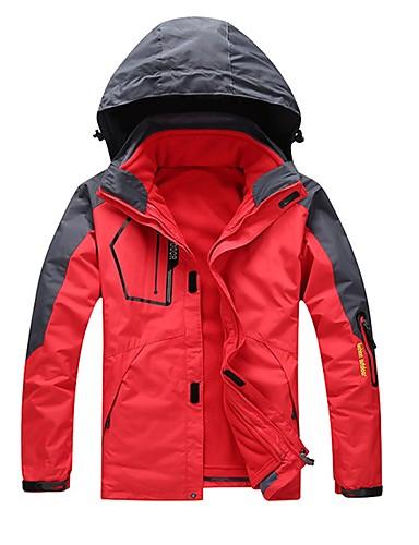 cheap Softshell, Fleece & Hiking Jackets-Unisex Hiking 3-in-1 Jackets Outdoor Waterproof Windproof Rain Waterproof Breathability Autumn / Fall Winter 3-in-1 Jacket Winter Jacket Camping / Hiking Camping / Hiking / Caving Snowsports Army
