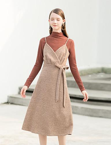 Damskie Vintage Linia A Sukienka - Jendolity kolor W serek Wysoka Talia Midi