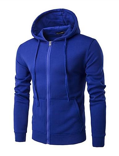 Męskie Długi rękaw Bluza z Kapturem - Jendolity kolor Kaptur / Wybierz rozmiar o jeden większy od Twojego normalnego rozmiaru.
