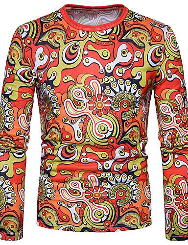 פרחוני גיאומטרי צווארון חולצה פעיל טישרט - בגדי ריקוד גברים כותנה