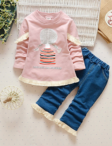 81b959520941 Girls  Daily Going out Print Cartoon Clothing Set