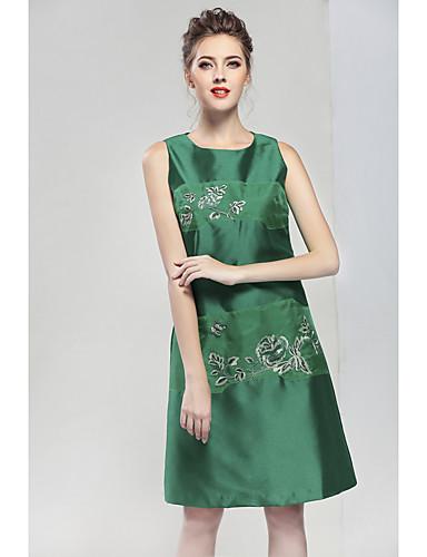 Damskie Vintage Bez rękawów Linia A Sukienka - Kwiaty, Haftowane Przed kolano