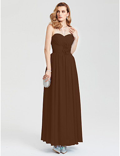 cheap Evening Dresses-A-Line Sweetheart Neckline Ankle Length Chiffon Open Back Prom / Formal Evening Dress with Ruched / Flower / Pleats by TS Couture®