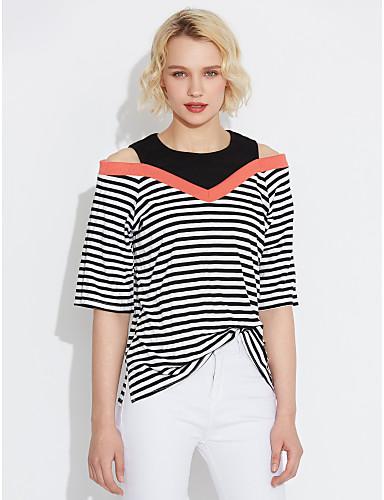 billige Topper til damer-T-skjorte Dame - Stripet Gatemote / Sofistikert Ut på byen / Arbeid Grønn / Vår / Sommer / fin Stripe