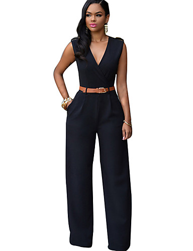cheap Women's Jumpsuits & Rompers-Women's Wide Leg Daily / Weekend Street chic Deep V Light Blue Khaki Royal Blue Wide Leg Jumpsuit, Solid Colored L XL XXL Cotton Sleeveless Spring Summer