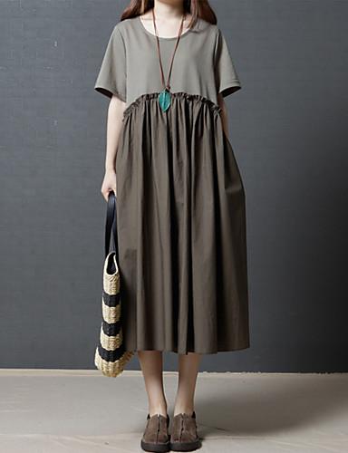 Umorismo Per Donna Per Uscire Cotone Largo Largo Vestito - A Pieghe, Tinta Unica Medio Vita Alta #06527104