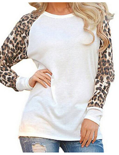 billige Topper til damer-Store størrelser Bluse Dame - Leopard, Lapper Gatemote Ut på byen Svart