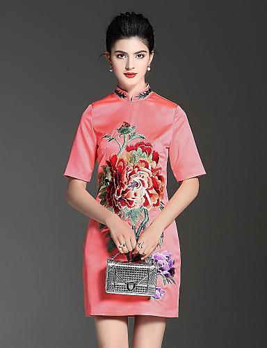 עומד פרח, אחיד פרחוני - שמלה גזרת A סגנון סיני בגדי ריקוד נשים