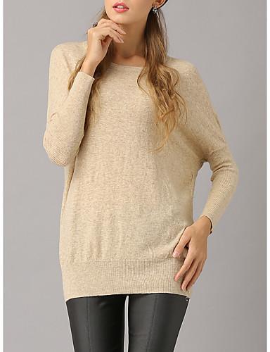 צבע אחיד - סוודר שרוול ארוך שרוול עטלף ליציאה בגדי ריקוד נשים