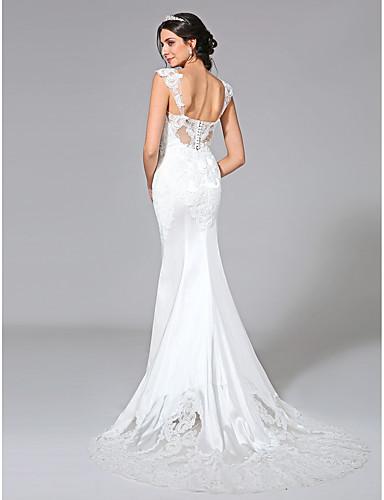 בתולת ים \ חצוצרה שובל קורט סאטן נמתח שמלת חתונה עם אפליקציות כפתור על ידי LAN TING BRIDE®