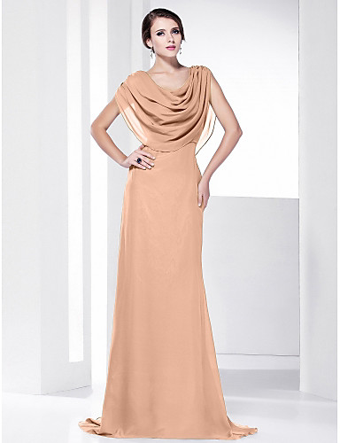 7f898279ca9 Sheath   Column Cowl Neck Sweep   Brush Train Chiffon Formal Evening Dress  with Draping by TS Couture®