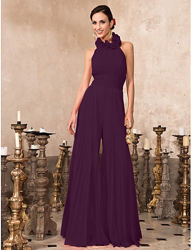 cheap Prom Dresses-Jumpsuit Halter Neck Floor Length Chiffon Formal Evening Dress with Pleats by TS Couture®