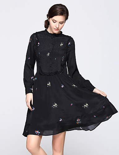 עומד Ruched דפוס, פרחוני - שמלה גזרת A נדן סווינג בגדי ריקוד נשים