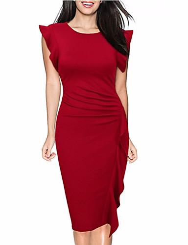 f64e0fa4ee9 Γυναικεία Εξόδου Εκλεπτυσμένο Βαμβάκι Θήκη Φόρεμα - Μονόχρωμο, Με Βολάν  Μίντι