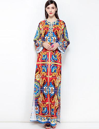 מקסי בסיסי, פרחוני - שמלה משוחרר מידות גדולות בוהו בגדי ריקוד נשים