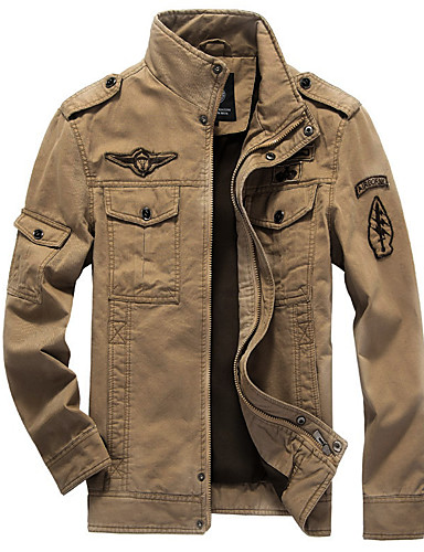 Men's Military Cotton Jacket - Solid Colored Stand