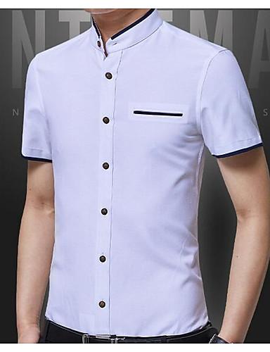 אחיד צווארון עומד(סיני) סגנון רחוב חולצה - בגדי ריקוד גברים / שרוולים קצרים
