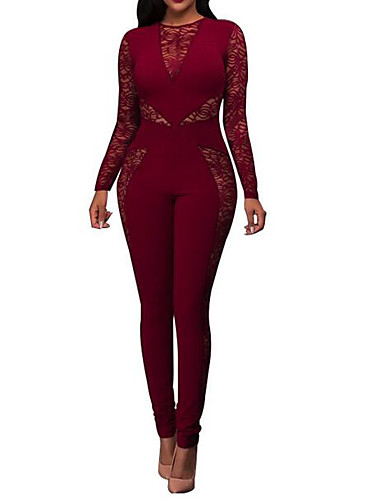 4ddc36d8f174 Women s Holiday Lace   Sophisticated Blue Red Jumpsuit