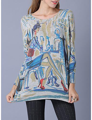 גיאומטרי - סוודר שרוול ארוך שרוול עטלף ליציאה בגדי ריקוד נשים / סתיו / חורף