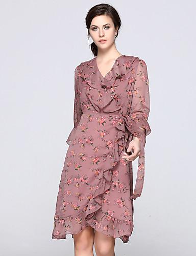 צווארון V קפלים Ruched דפוס, פרחוני - שמלה גזרת A נדן סווינג בגדי ריקוד נשים