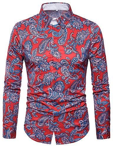 פרחוני גיאומטרי כותנה, חולצה - בגדי ריקוד גברים