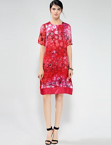 מידי דפוס, פרחוני - שמלה גזרת A וינטאג' עבודה בגדי ריקוד נשים