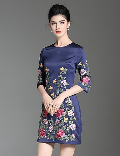 פרח, פרחוני - שמלה גזרת A סגנון סיני בגדי ריקוד נשים