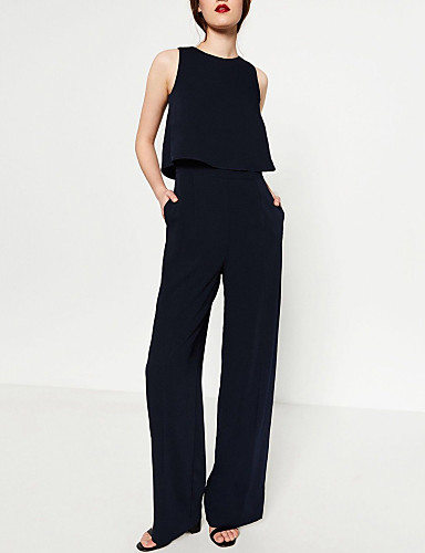 Women's Party Going out Sexy Sophisticated Solid Round Neck Jumpsuits,Wide Leg Overalls Sleeveless Spring Fall Polyester